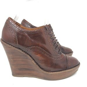 ZARA Brown Leather Wedge Heel Lace Up Oxford 7.5